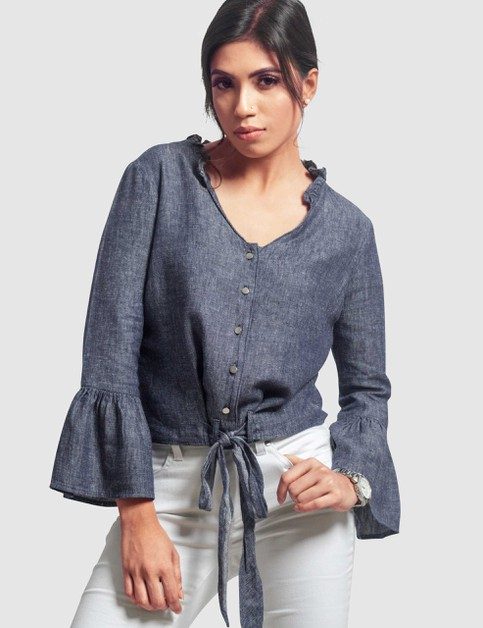 Womens Linen Bell-Sleeve Top - orangeshine.com