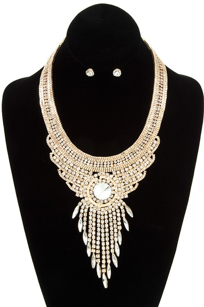 CHAIN AND RHINESTONE FRINGE DROP NEC - orangeshine.com