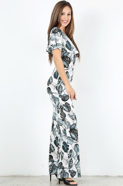 Leaf print jumpsuit in relaxed fit - orangeshine.com