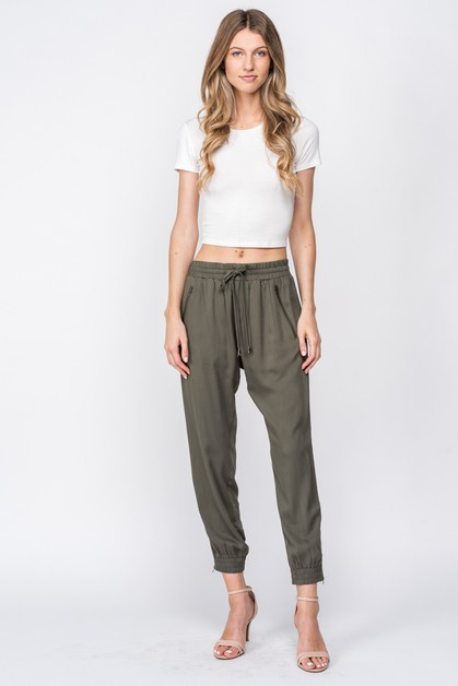 WOVEN SWEATPANT WITH EXPOSED ZIPPERS - orangeshine.com