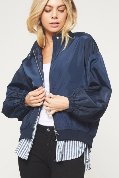 Satin Bomber Jacket with Striped Hem - orangeshine.com