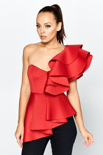 Solid off unbalanced top with ruffle - orangeshine.com