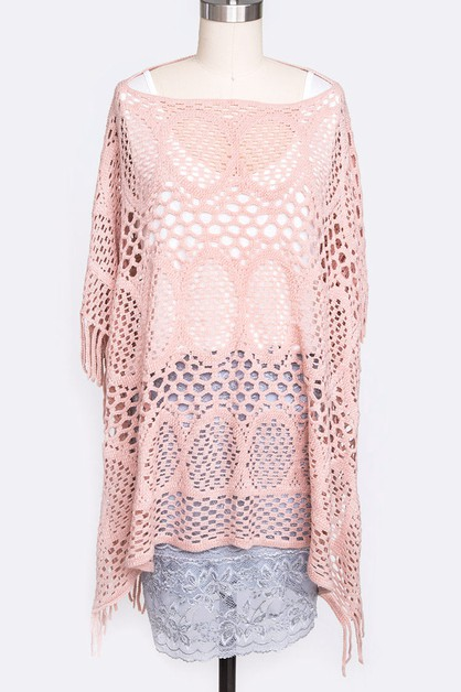 Laser Cut Fashion Poncho - orangeshine.com