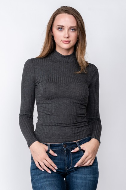 MOCK NECK RIB LONG SLEEVE  - orangeshine.com