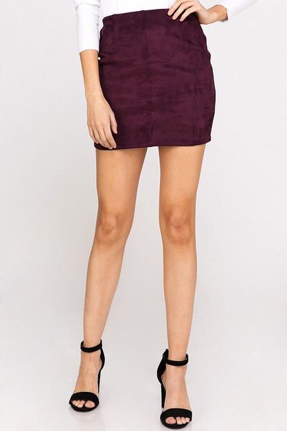SUEDE PANEL MINI SKIRT - orangeshine.com