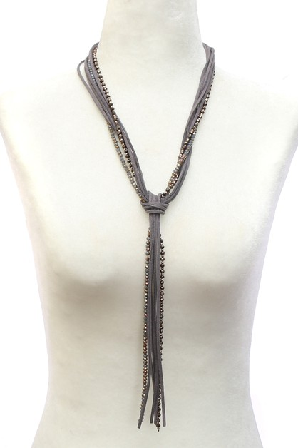 LEATHER WITH  TASSEL NECKLACE  - orangeshine.com