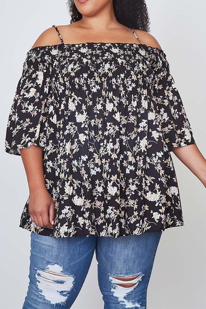 FLORAL PRINT COLD SHOULDER TUNIC TOP - orangeshine.com