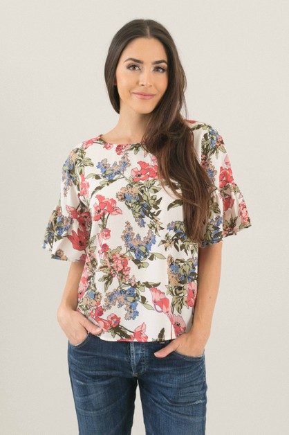 Resort Floral Flutter Sleeve Top - orangeshine.com