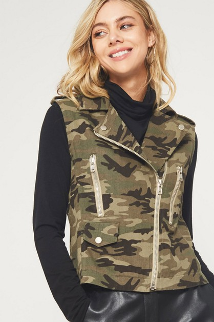 Camo Zip Pocket Vest - orangeshine.com