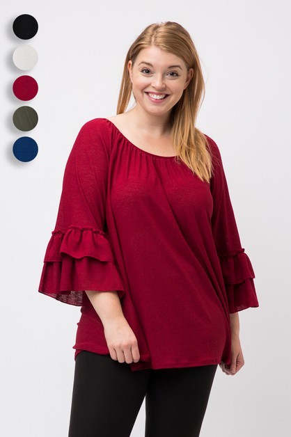 Knit  Double Layer Ruffle Sleeve Top - orangeshine.com