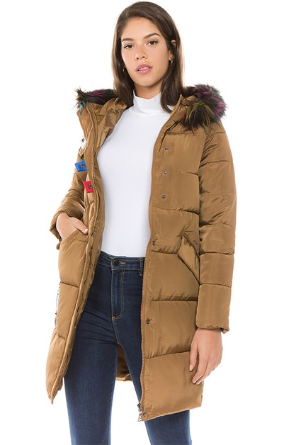 PUFFER JACKET WITH REMOVABLE FUR - orangeshine.com