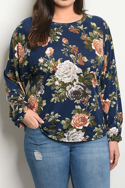 FLORAL PRINT LOOSE FIT PLUS TOP  - orangeshine.com
