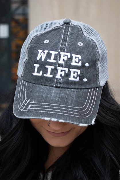 Wife Life Embroidered Trucker Hat - orangeshine.com