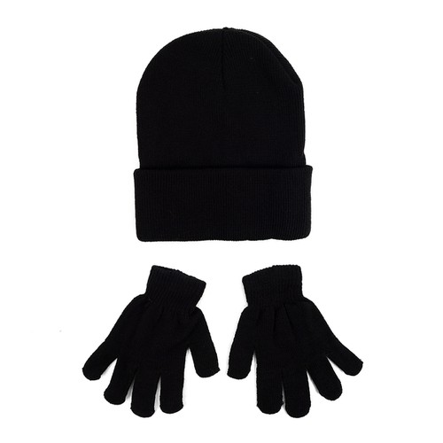 Kid Winter Black Knitted Hat Gloves  - orangeshine.com