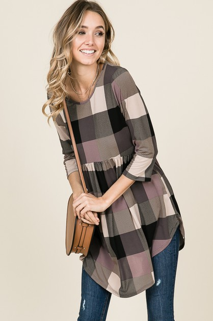 LONG SLEEVE PLAID PEPLUM TOP - orangeshine.com
