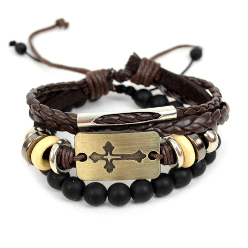 Leather and Stone Bracelet Set - orangeshine.com