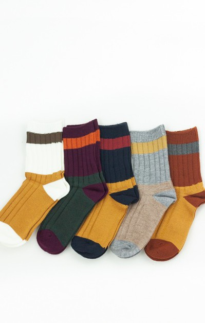 Fall Tones Warm Colorblocked Socks - orangeshine.com