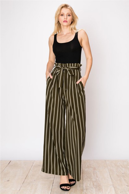OLIVE WIDE LEG STRIPE PRINT PANTS - orangeshine.com