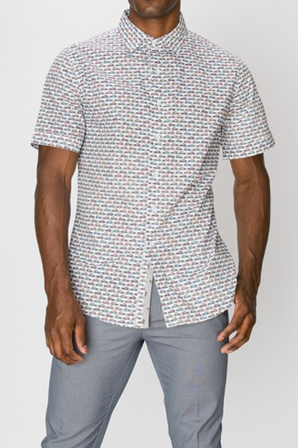 Printed Short Sleeve Button Up Shirt - orangeshine.com