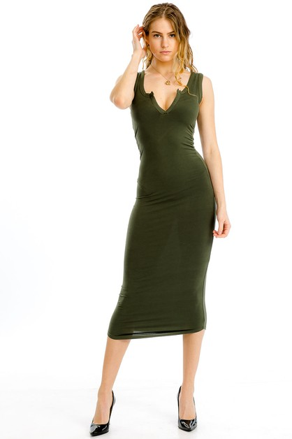 Split Neck Tank Dress - orangeshine.com