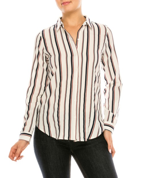 Striped Buttoned Blouse - orangeshine.com