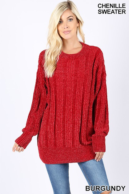OVER SIZED CABLE CHENILLE SWEATER - orangeshine.com