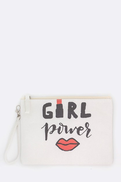 Girl Power Printed Canvas Pouch - orangeshine.com
