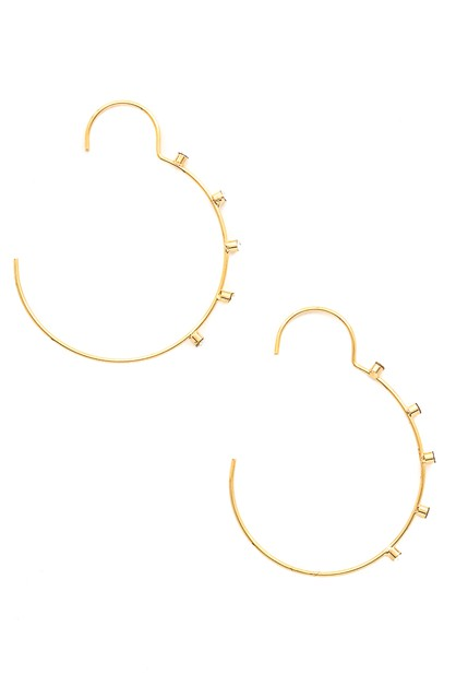 Studded Wire Hoop Earrings - orangeshine.com