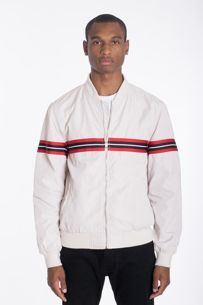 Luxury WOVEN TAPED BOMBER JACKET - orangeshine.com