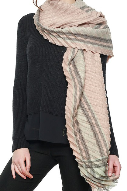 LUXURIOUS AZTEC BORDER PLEATED SCARF - orangeshine.com