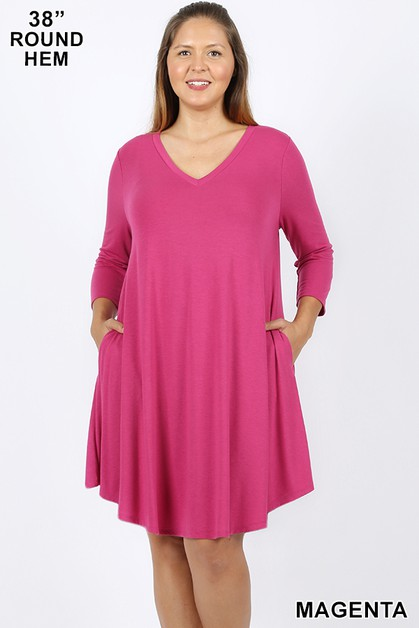 PLUS ROUND HEM A LINE DRESS W POCKET - orangeshine.com