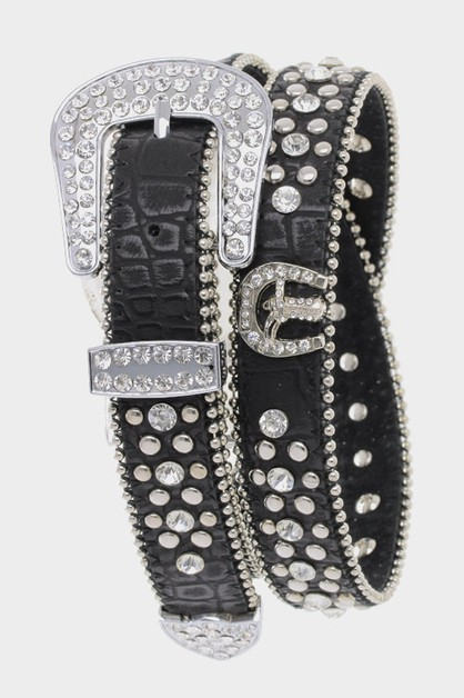 Crystal Studded Belt - orangeshine.com
