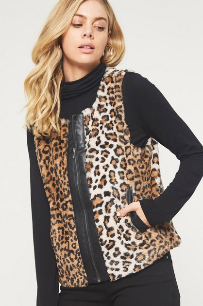 Leopard Faux Fur Zip-Up Vest - orangeshine.com