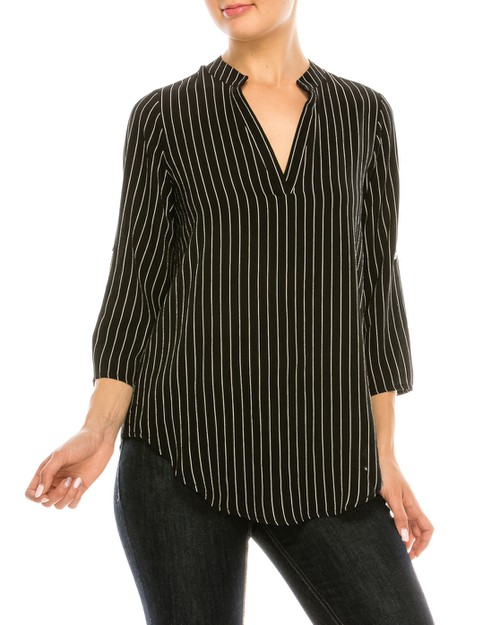 Striped V-Neck Blouse - orangeshine.com