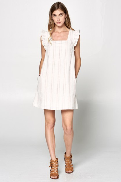PIN STRIPE FLUTTER DRESS - orangeshine.com