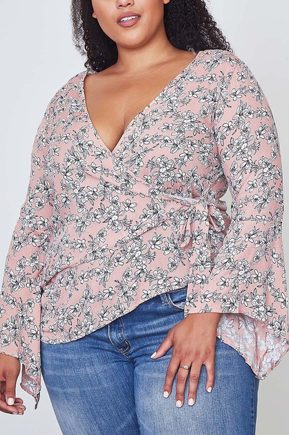FLORAL PRINT WRAP PLUS BLOUSE TOP - orangeshine.com