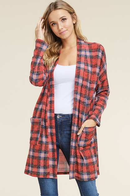 PLAID OPEN CARDIGAN WITH POCKETS - orangeshine.com