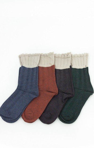 Fall Tones Ruffle Hem Socks - orangeshine.com