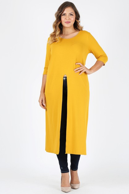PLUS SIZE HIGH FRONT SLIT LONG TOP - orangeshine.com