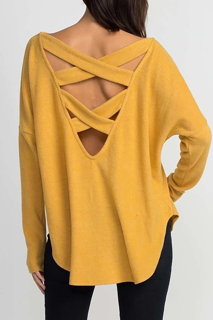 DOLMAN BACK STRAP DETAIL SWEATER - orangeshine.com