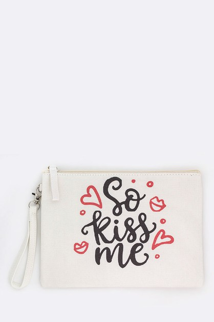 So Kiss Me Printed Canvas Pouch - orangeshine.com