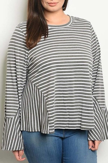 CREW NECK BELL SLEEVE STRIPE PLUS TO - orangeshine.com