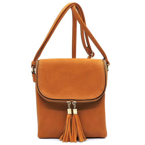 Tassel Flap Crossbody Bag - orangeshine.com