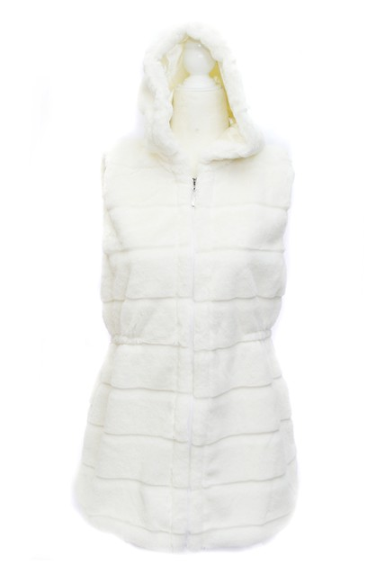 Winter Faux Fur Hooded Vest - orangeshine.com