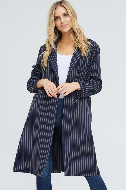Double Breasted Stripe Long Coat  - orangeshine.com