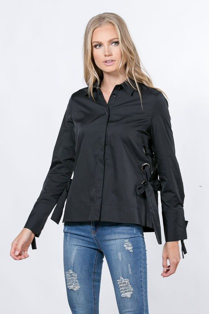 BUTTONDOWN BLOUSE WITH LACE-UP - orangeshine.com
