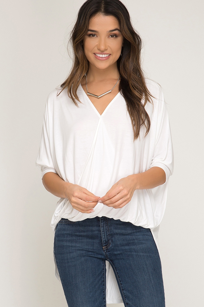 SURPLICE KNIT TOP - orangeshine.com