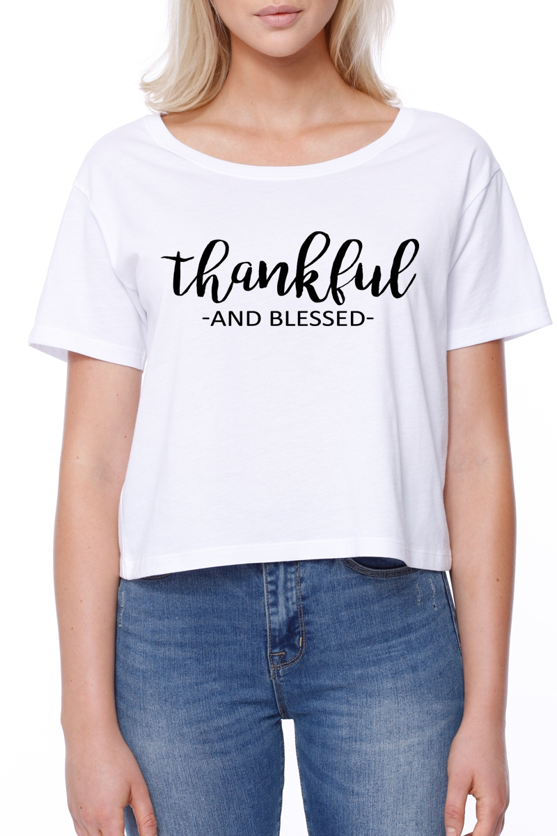 Thankful and Blessed Cropped Boxy T - orangeshine.com