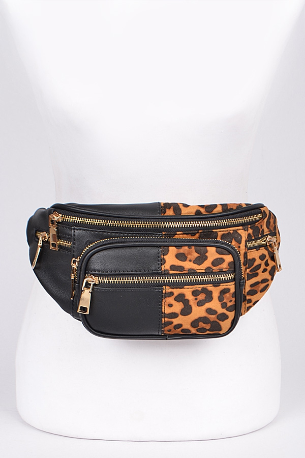 Plain & Leopard Mixed Fanny Pack - orangeshine.com