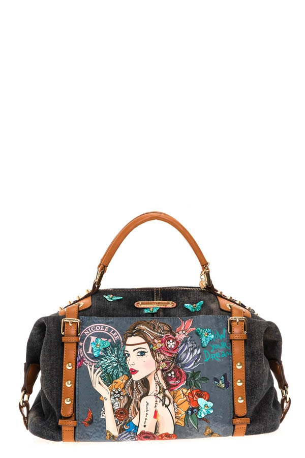BOHEMIAN DENIM SMALL DUFFLE BAG - orangeshine.com
